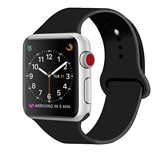 ZRO Smart Watch Correa, Silicona Suave Reemplazo de Banda Sport Band para Apple iWatch Serie 2/ Serie 1 38mm S/M, Negro