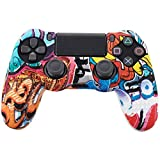 Leoie Camouflage Case Graffiti Studded Dots Silicone Rubber Gel Skin for Sony PS4 Slim/Pro Controller Cover Case for Dualshock4 Cartoon Game