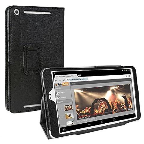 eFabrik Tasche für Asus MeMO Pad 8 ME581C Case Hülle Cover Schutzhülle Schutztasche Etui Aufstellfunktion Auto Sleep / Wake up Leder-Optik schwarz