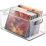 mDesign Juego de 2 porta DVD, CD y videojuegos – Sistema de almacenaje perfecto para películas, series, música o juegos de consola – Cajas para DVD de plástico transparente