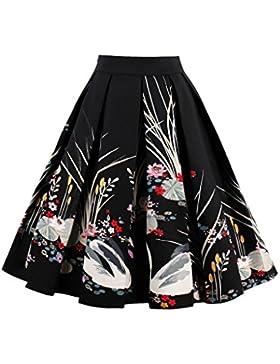 ChunTian Faldas Plisadas Vintage Mujer Rockabilly Cintura Alta Swing Imprimir Verano