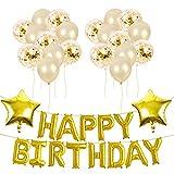 TOPWINRR Globos Confeti Oro Feliz Cumpleaños Decoraciones Sumini