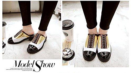 SHINIK Damen Geschlossene Toe Sandalen 2017 Frühling und Sommer Neue Spleißen Farbe Medium Ferse Cool Slippers Lazy Casual Schuhe Gold
