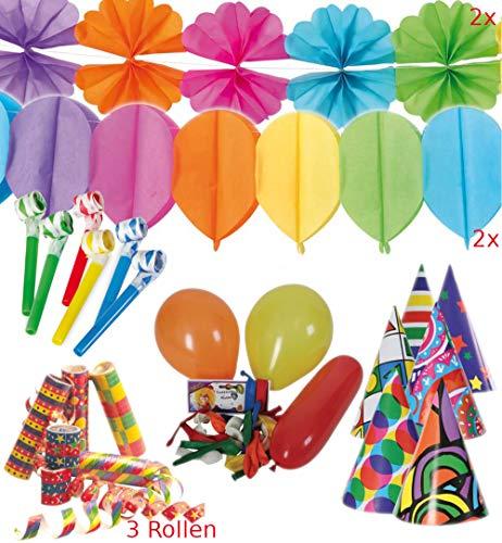 KarnevalsTeufel Party-Set, Dekoration | Party-Hüte, Luftschlangen, Blumen- und Ballon-Girlanden, Luftrüssel, Luftballons | Karneval, Geburtstag, Mottoparty