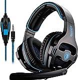 SADES SA810 3.5mm Multi-Platform Gaming Headsets Cuffie Gaming, Cuffie da Gioco Con Microfono Controllo del Volume Noise Cancelling Per New Xbox uno/PS4/PC/Laptop/Mac/iPad/iPod(Nero/Blu)
