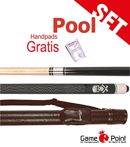 Billard-Set: Queue Black Death mit Köcher Karella 1/1 schwarz + WINNERS Handpads Gratis