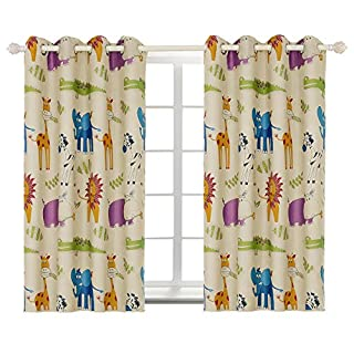 BGment Kids Blackout Curtains for Bedroom Eyelet Thermal Insulated Room Darkening Variety Animal Patterns Printed Curtains for Nursery,Set of 2 Panels (W46 x L54 Inch,Beige Zoo)