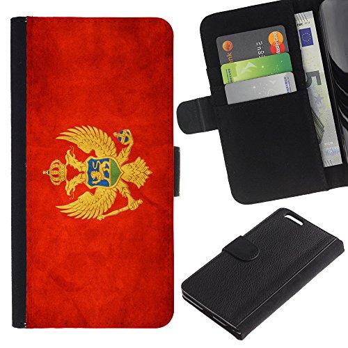 """Graphic4You Vintage Uralt Flagge Von Italien Design Brieftasche Leder Hülle Case Schutzhülle für Apple iPhone 6 Plus / 6S Plus (5.5"""") Montenegro Montenegrinischen"""