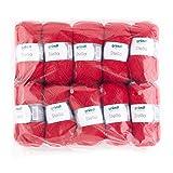 Gründl 3489-10 Stella Wolle, 80% Polyacryl, 20% Wolle, Rot, 32 x 28 x 8 cm
