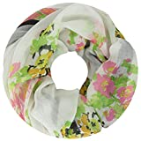 Lovely Lauri Damen Loop Schal Flora Motiv Blumen Weiss