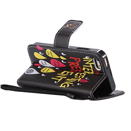 Etsue für iPhone SE/iPhone 5S Schmetterling Lederhülle Tasche Handyhülle, Lanyard/Strap Bunte Retro Blumen Butterfly Leder Cover Flip Wallet Case Brieftasche Schutzhülle Handytasche mit Standfunktion  Tränen