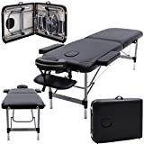 Massage Imperial Ultra Lightweight Professional Knightsbridge Aluminium 10Kg Black 2-Section Portable Massage Table Couch Bed Spa With 5cm/2