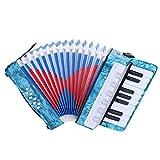 Drfeify Fisarmonica a 17 Tasti, Fisarmonica a 8 Bassi Fisarmonica a 17 Tasti per Pianoforte per Bambini Principianti(Blu)