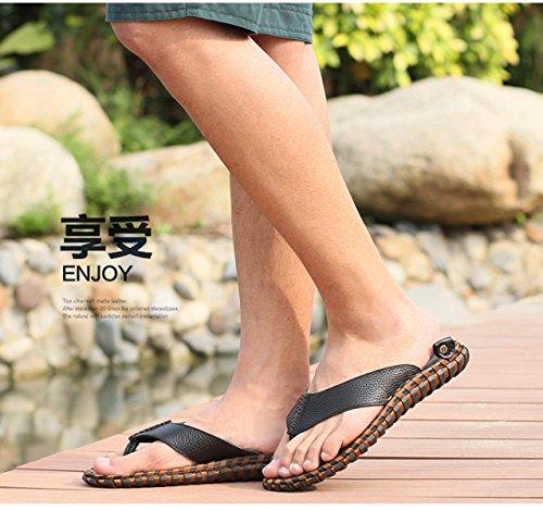 Lxxamens Été Plage Légère Flip Flops Véritable En Cuir Mâle Pantoufle Bretelles Chaussures Sandales Tongs Marron