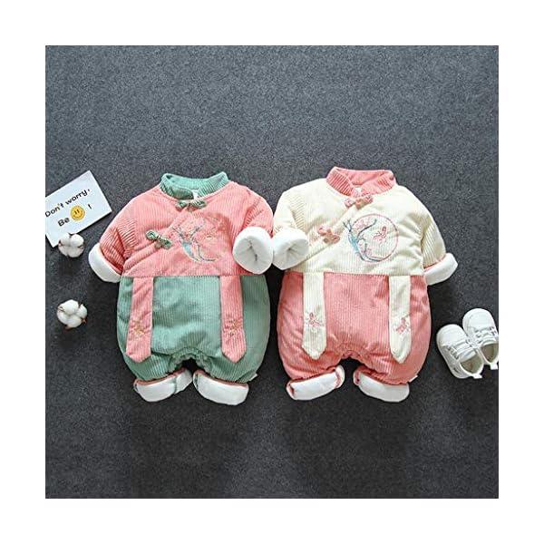 Recién Nacido antigüedad Mono Invierno Moda Niñito Bebé Chicas Labor de Retazos Mameluco Mono Engrosado Trajes de… 2