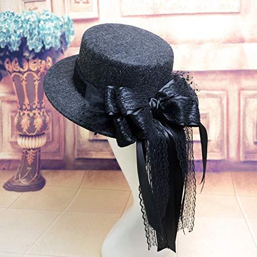 hat-maihef Wollmütze weiblichen Frühling und Herbst England Flache Kappe Retro Kuppel großen Bogen Jazz Hut koreanische Mode wild schwarz einstellbar
