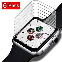 SHINEZONE 6 Stück Schutzfolie für Apple Watch Series 5 44 mm/Series 4 44 mm [Kompatibel mit Hülle] (Blasenfreie) Volle Abdeckung HD klar Flexible TPU-Displayschutzfolie [Lebenslange Garantie]