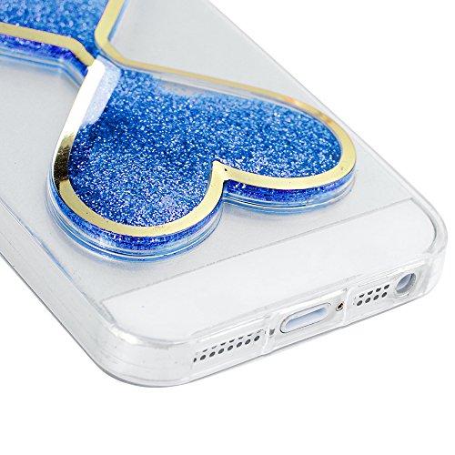 "YOKIRIN Schutzhülle für iPhone 6/6S (4.7"") Liebe Bling Treibsand TPU Silikon Case Cover Silikonhülle Handytasche Etui Handycase Flexible Transparent Handyhülle Green Blau"