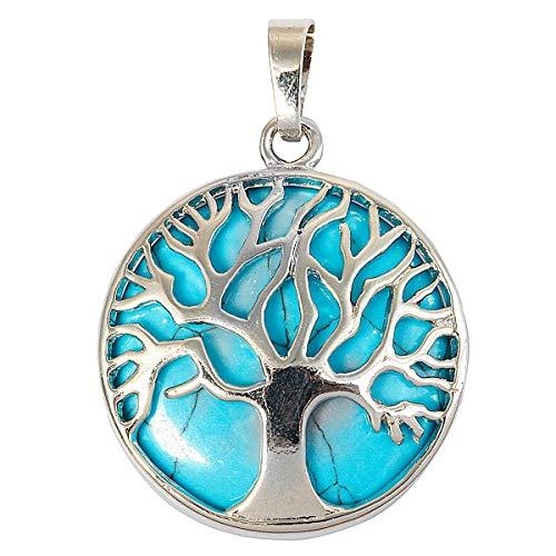 KYEYGWO Baum des Lebens Anhänger Halskette für Frauen, Heilung Kristall Segen Amulett Anhänger für Modeschmuck