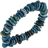 Braccialetto bracciale gioielli in Apatite blu gioiello Bracciale Elastico Senza Fine In 19cm