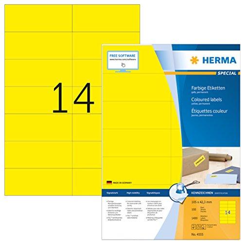 Herma 4555 Farbetiketten (105 x 42, 3 mm auf DIN A4 Papier matt, selbstklebend) 1,400 Stück auf 100 Blatt bedruckbar, Gelb