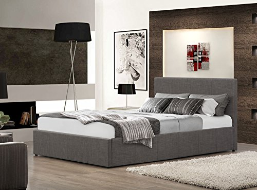 Happy Beds Berlin Ottoman Bed Grey Fabric Modern Storage Frame Bedroom 5' King Size 150 x 200 cm