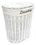 topfurnishing Shabby Chic Weiß Oval Flechtweide Wäschekorb mit Deckel & Entfernbarer Baumwollfutter - Large Laundry