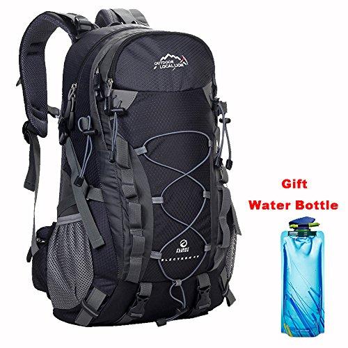 Zaino trekking 40 litri resistente all'acqua per trekking alpinismo escursionismo viaggio donna e uomo (nero)