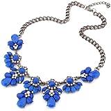 Bocideal 1PC Vintage Blumen-Kristallblasen Lätzchen Halsreif Erklärung Frauen Halskette