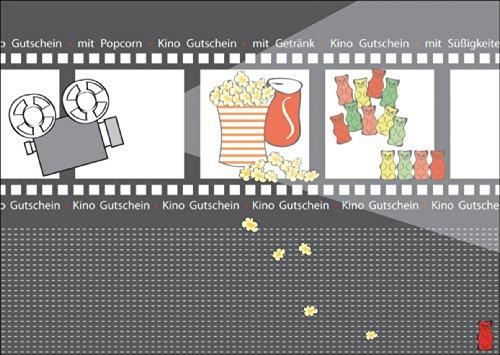 Kino Gutschein mit Popcorn, mit Getränk, mit Süßigkeiten • auch zum direkt Versenden mit ihrem persönlichen Text als Einleger. (Kino Drucken)