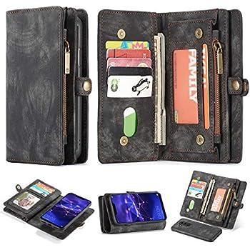 4ce39b27a48ec Simicoo Mate 20 lite Leder Schutzhülle mit 11 Kartenfächer Standfunktion  Reißverschluss Abnehmbare Magnetverschluss Robuste Silikon Brieftasche  Tasche Case ...
