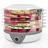 Meykey Deshidratador de Alimentos 5 Bandejas, Deshidratador de Frutas y Verduras 500 W, Plateado