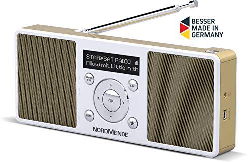 Nordmende Transita 200 tragbares Radio (DAB+, UKW, Senderspeicher, OLED-Display, Kopfhöreranschluss, Akku) weiß/perlgold