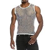 Kobay Shirt Pullover carro Armato della Maglia di Estate della Maglia Muscolare Casuale Uomo Camicetta Superiore(Bianco,Medium)
