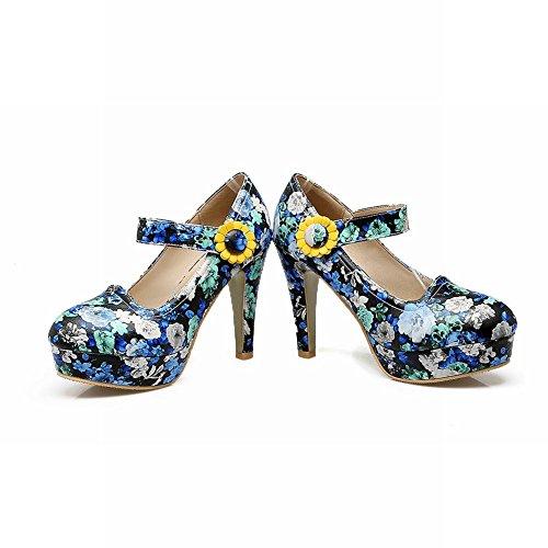 Mee Shoes Damen Blümchen Klettband high heels Partyschuhe Blau