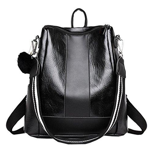 Tomatoa Rucksack Damen Elegant Leder Schulrucksack Umhängetasche Handtaschen Schulranzen Schultasche Daypack Schultertasche große größen beiläufige Spielraum Beutel (Schwarz)