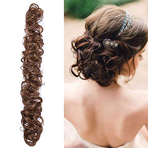 Chignon Capelli Finti Ricci Extension Elastico Lungo DIY Hair Magic Messy Curly Wrap Bun & Coda di Cavallo Accessori Scrunchies 85g Castano Chiaro