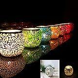 Twshiny Portavelas de Cristal con Mosaico, Hecho a Mano, Vintage, portavelas romántico, para decoración del hogar, Boda, Fiesta, Regalo, Vidrio, Beige
