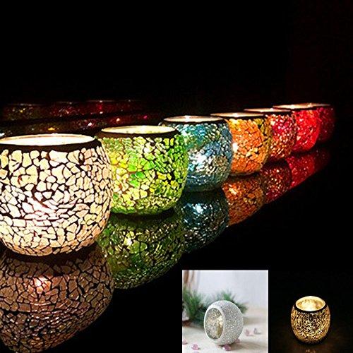 Mosaïque en verre pour bougie faite à la main vintage photophores romantique Bougeoir pour décoration fête de mariage cadeau, beige