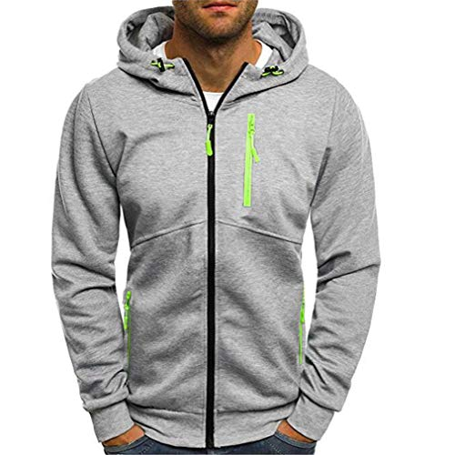 oodies Mode Reine Farbe Hoodie Männer Reißverschluss Cardigan Herren Trainingsanzüge Trainingsanzug Gray L ()