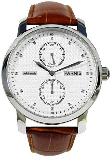 PARNIS Herren-Armbanduhr 2001 Analog Automatik Echtleder-Armband silbernes strukturiertes Zifferblatt