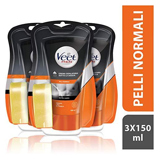 Veet for Men Crema sotto la doccia pelli normali petto e corpo 3 x 150ml