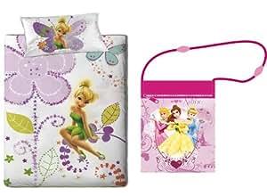 Parure housse de couette Fee clochette Fairies Disney linge de maison lit 1 Personne 140 x 200 + 1 taie d oreiller + Sac Bandoulière Princesse Disney