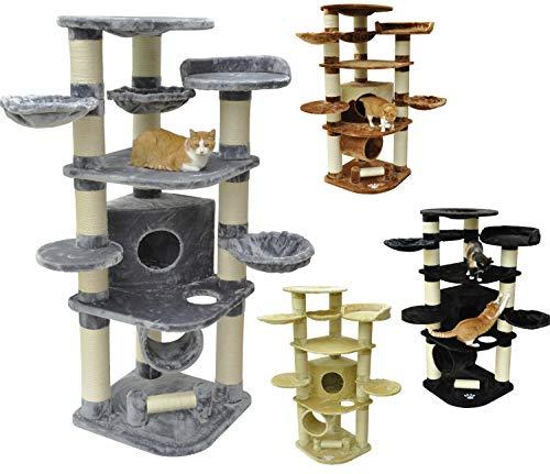 nanook Kratzbaum Katzenkratzbaum XXL Gigant Premium Qualität, große und schwere Katzen (Maine Coon, Ragdoll), stabil 58 kg, Kratzstämme 15 cm Ø,standfest - Farbe: grau