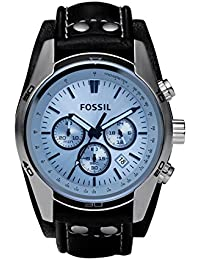 FOSSIL Coachman Chronograph Black Leather Watch – Analogue Men's Watch with Quartz Movements and Blue Dial - Stopwatch, Tachymeter and Timer Functionality