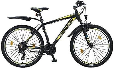 Talson 24 Zoll Kinderfahrrad MTB Aluminiumrahmen Fahrrad Shimano 21G Gabelfederung Beleuchtung nach STVO SGELB 24779