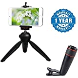 Renyke 228 Mini Tripod Stand With Phone Clip Holder With 12x Zoom Mobile Phone Telescope Lens Optical Zoom Camera Compatible With Xiaomi, Lenovo, Apple, Samsung, Sony, Oppo, Gionee, Vivo Smartphones (One Year Warranty)