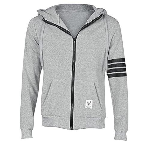 Mens Plain Zipped Fleece Hoody Hoodie Sweatshirt Size M L XL XXL XXXL (L, Gray)