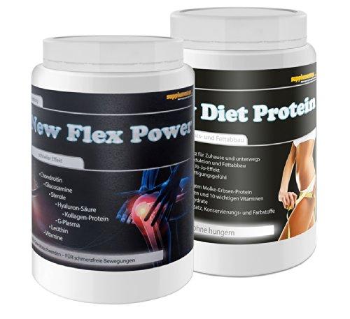 New Diet Protein 400g Banane+New Flex Power 400g Orange! Molkenprotein Molkeneiweiß Gelenkschmiere Gelenkaufbau Kollagen Glucosamin Anabol