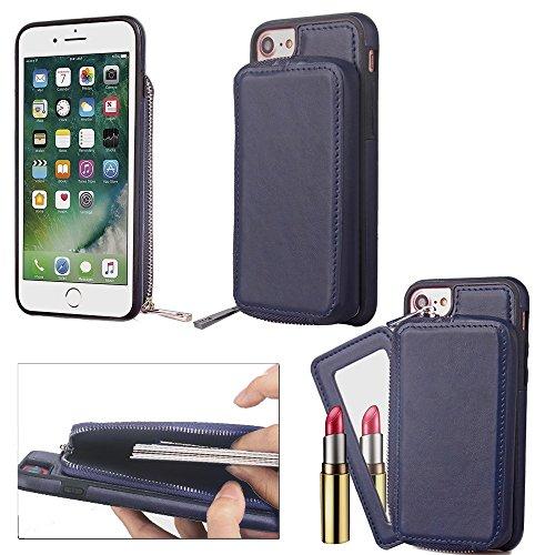 Großer Kapazitäts-Mappen-Beutel-Abdeckungs-Fall mit Reißverschluss Retro- ebene Beschaffenheit PU-lederne rückseitige Abdeckung für iPhone 6 u. 6s ( Color : Brown ) Blue